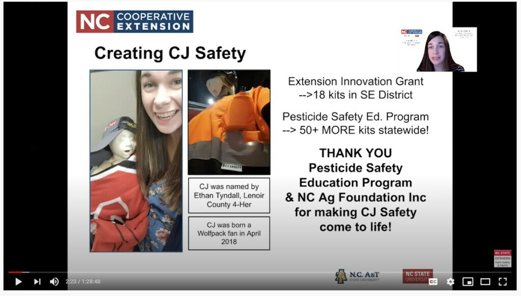 Alyssa Spence teaches agriculture agents about ppe.